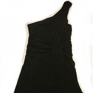 Allen B one shoulder black dress